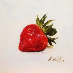 Strawberry Diamante Oil Painting Nina R.Aide 6x6 canvas Original Fine Art Gallery Kitchen Art Small Painting Daily by NinaRAideStudio on Etsy