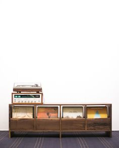 Vinyl Cabinet with slide-out flip-bins, handmade by Killscrow Design. They ain't cheap but they sure are purdy. Record Shelf, Record Stand, Vinyl Record Storage, Lp Storage, Vinyl Record Cabinet, Record Player Console, Record Display, Stereo Cabinet, Rolling Storage