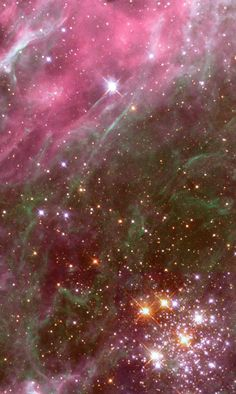 The star cluster Hodge 301 is inside the Tarantula Nebula. This nebula is located in our galactic neighbor, the Large Magellanic Cloud. Many of the stars in Hodge 301 are so old they have exploded. They are blasting material into the area around them at speeds of almost 200 miles per second! The high-speed matter is plowing into the nebula. The impact shocks and squashes the gas into long strands. | Star Clusters | Kids Discover
