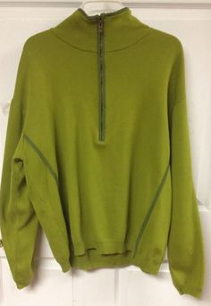 Mens Lime Green Half Zip Tommy Bahama Pull Over Sweater Sweat Shirt Size Large #TommyBahama #12Zip