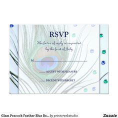 Glam Peacock Feather Blue Response Card