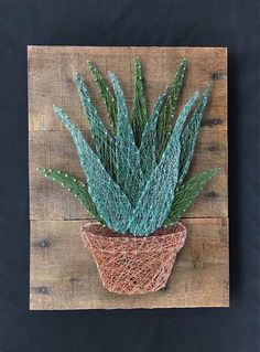 Cool And Contemporary aloe vera plant asda made easy String Art Templates, String Art Tutorials, String Art Patterns, Nail String Art, String Crafts, Diy Arts And Crafts, Diy Crafts, Arte Linear, Thread Art