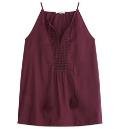 Embroidered sleeveless top violet - Promod
