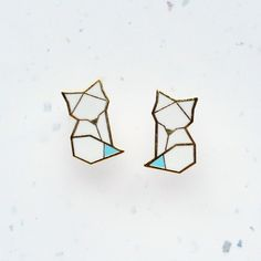 Hannah Zakari - Arctic Fox Origami Stud Earrings #earrings