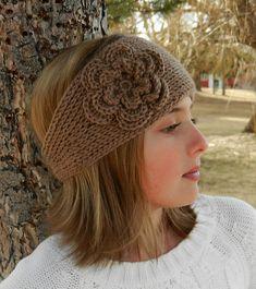 """Tunisian """"Knit-Look"""" Crochet Headband Pattern with Flower by Kismet Crochet"""