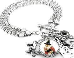 Wiccan Charm Jewelry Witch Charm Bracelet The by BlackberryDesigns