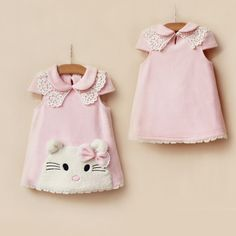Free Shipping New 2014 Autumn Winter Hello Kitty Girls Dress Children Dresses Casual A-line Baby Kids Clothing Clothes