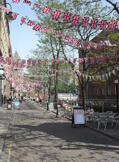 Canal Street, the centre of the Manchester Gay Village, bunted to within an inch of its life.