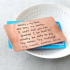 Personalised Copper Wallet Insert Card from notonthehighstreet.com