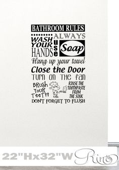 Hey, I found this really awesome Etsy listing at https://www.etsy.com/listing/220954288/bathroom-rules-wall-decal-vinyl-sticker