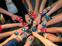 Fabric flower rings & cuffs