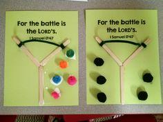 David and Goliath craft. Preschool, Kindergarten craft. Sunday School craft.                                                                                                                                                     More