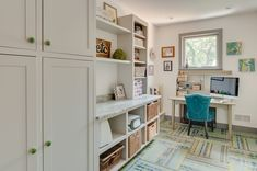 Contemporary Home Office with High ceiling, FLOR Fall In Line Carpet Tiles, Carpet, Arabescato Venato Marble Countertop