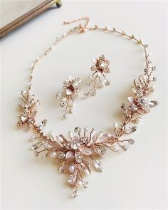Jewelry & Watches Romantic 2d Contemporary Bridal Clear Crystal Silver Metal Rose Floral Vine Necklace Set