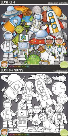 Blast Off digital scrapbooking elements | cute space clip art | Hand-drawn illustrations for digital scrabooking, crafting and teaching resources from Kate Hadfield Designs! Click for projects created with these illustrations!