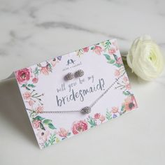 Will you be my bridesmaid?  Ask me about personalized cards to match your wedding theme!  Chloe + Isabel jewelry and Jen Atkin hair accessories ~ nikscandi.com. Lifetime guarantee