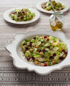 pomegranate and cucumber salad...fresh.