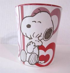 """Snoopy Coffee Mug Cup, with Pink & Red Hearts - PEANUTS - Holds 11 oz., 4.25"""" tall NEW, Charles Shulz $15.50 #SnoopyMug JustLuvTreasures.com"""