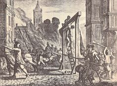 Hanging/martyrdom of Guy De Bres. Guy De Bres was a travelling Calvinist preacher in the Low Countries. He wrote the Belgic Confession in 1561, demanding the reformation of the Roman Catholic Church along biblical lines. It was heavily influenced by the creed of the French Hugenouts. He was arrested in 1565, tried before the Spanish Inquisition and hung. His death was a catalyst to the Iconoclastic riots all over the Netherlands in 1556