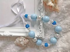 Beaded pearl necklace, crystal rhinestone necklace, fits baby and mum, light blue classic necklace, blue by AwesomeBabiesShop on Etsy