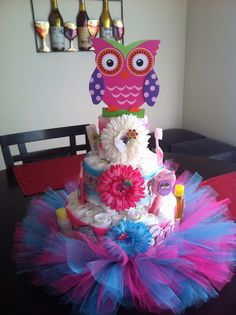 Pink and blue owl diaper cake
