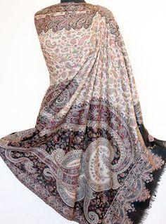 Large, Wool, Paisley Shawl. Hand-Cut Kani. India Jamavar Stole with Fine Details #Pashmina