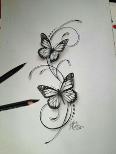 Butterflies filigree tattoo design - Tattoo-Ideen - Tattoo World Foot Tattoos, Flower Tattoos, Arm Tattoo, Body Art Tattoos, New Tattoos, Small Tattoos, Tatoos, Tattoo Trend, Tattoo Ideas