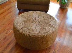 make coffee table out of old tire and twine