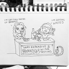 Li'l Pep Daily Doodles by Lady Gabe. Comic Doodles - Comic Artist - Comic Illustration - Daily Comic - Daily Art - Daily Doodle - Wine Tasting - Wine Tasting Funny - Funny Wine - Wine Pun - Get Wasted - Life Illustrated