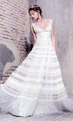 GEMY MAALOUF #bridal 2016 sleeveless deep v neck a line #wedding dress pleated skirt