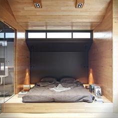 Chambre sur podium   Residential house reconstruction by Denis Svirid, via Behance