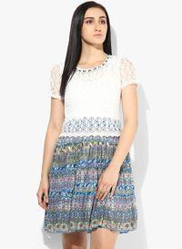 afccd5d362 Buy Magnetic Designs White Colored Printed Skater Dress Online - 2544048 -  Jabong