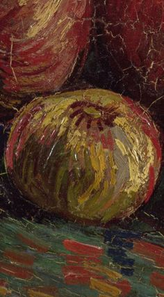 Detail of 'Apples' September-October Vincent van Gogh - Credits (obliged to state): Van Gogh Museum, Amsterdam (Vincent van Gogh Foundation). Lighthouse Art, Van Gogh Art, Van Gogh Museum, Van Gogh Paintings, Edvard Munch, Blue Accents, Vincent Van Gogh, Still Life, Colours
