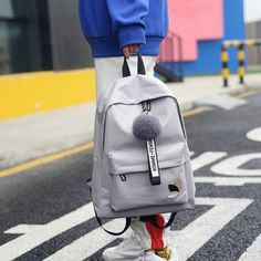 Fashion fur ball girl backpack for women 2018 teenage schoolbag College wind High school student nylon printing back pack bag Backpack Outfit Accessories From Touchy Style Stylish Backpacks For College, Cool Backpacks For Girls, Best Backpacks For School, Pretty Backpacks, Boys Backpacks, Bags For Teens, Girls Bags, Teenager Fashion Trends, Nylons
