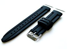 24mm – Rubber Modern Style Replacement Strap Band with Pins and Stainless Steel Buckle for Luxury, Sports, and Casual Watches (B-RASDMD)  #24mm #band #BRASDMD #Buckle #Casual #Luxury #Modern #Pins #Replacement #Rubber #Sports #stainless #steel #Strap #Style #watches MonitorWatches.com
