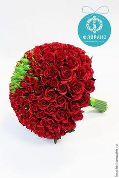 """Купить Букет """"Миллион алых роз"""" - ярко-красный, розы, полимерная глина deco"""