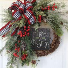 Christmas Wreath-Christmas Door Wreath-Holiday by ReginasGarden