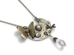 Steampunk necklace Elgin silver pocket watch plate cogs gears wheels antique circa 1890 genuine pearl Swarovski crystal gold Butterfly and dragonfly guilloche engraved vintage pendant