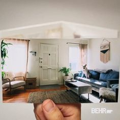 Curtis' living room just got a lot more comfortable. We added BEHR® Color Trends 2021 colors Jojoba N390-3 and Smoky White BCW-13 for a heightened sense of modern comfort. For more colors from the BEHR® Color Trends 2021 palette, click the link!
