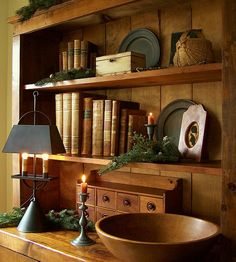 FARMHOUSE – INTERIOR – early american decor inside this vintage farmhouse seems perfect, like this circa 1892 homestead primitives.