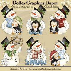 Frosty Fred and Friends Love Snow - Clip Art Christmas Templates, Christmas Clipart, Christmas Snowman, Christmas Crafts, Xmas, Pintura Country, Christmas Embroidery Patterns, Tole Painting Patterns, Easy Christmas Decorations