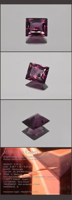 Bright Unheated Red Purple Spinel. Rectangle Cut. 2.18 ct. Perfect Gemstone for ring or jewelry. WEIGHT : 2.18 ct SIZE : 8.36 * 7.25 * 4.01 mm SHAPE : Rectangle COLOR : 29. (PR/RP) Purple Red TONE : 5