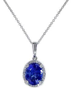 Tanzanite (2-5/8 ct. t.w.) and Diamond (1/8 ct. t.w.) Pendant Necklace in 14k White Gold