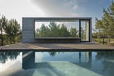 This modern concrete residence located in Pinamar, Argentina, was developed in 2015 by Luciano Kruk Arquitectos. Description by Luciano Kruk Arquitectos Costa Concrete Architecture, Contemporary Architecture, Interior Architecture, Interior Design, Beton Design, Concrete Houses, Concrete Pool, Exposed Concrete, Rooftop Pool