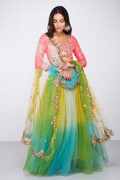 ZAYAH Multi Coloured Mirror Embroidery Lehenga Set
