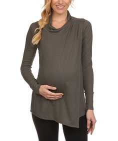 Loving this BellyMoms Charcoal Cowl Neck Maternity & Nursing Tunic on #zulily! #zulilyfinds