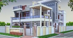 House Balcony Design, Small House Design, Cool House Designs, Modern House Design, Modern House Floor Plans, Contemporary House Plans, Two Story House Plans, Small House Plans, Indian Home Design