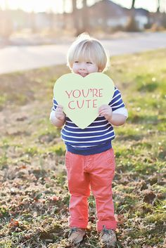 Make your own conversation hearts and capture these photos of the little one for Valentine's Day. We love this idea!