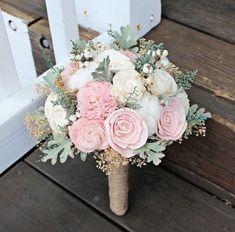 Alternative Wedding Bouquet - Luxe Collection Ivory Blush Dusty Miller Raw Cotton Keepsake Bouquet, Sola Bouquet, Rustic Wedding