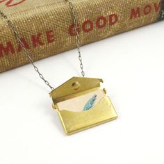 Love Letter Envelope Locket With Miniature Blue by sugarcookie